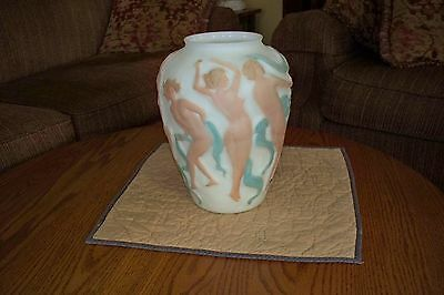 "Phoenix /Consolidated Glass Vase Nude Women Dancing to Satyr 12""' Large Vase"
