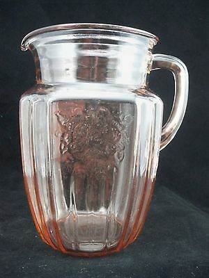 Antique Pink Depression Glass Anchor Hocking Mayfair Pitcher~Perfect