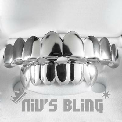 18K White Gold Plated Mouth GRILLZ Custom Teeth 6 Top Bottom Silver Grill JOKER