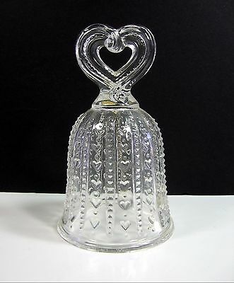 FOSTORIA AVON BELL 1984 Treasured Moments Clear Glass Embossed Heart Handle 1984
