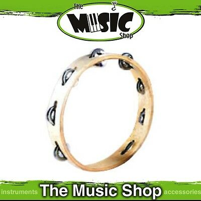 "New Mano Percussion 10"" Wooden Tambourine with Nickel Silver Jingles - UE770"