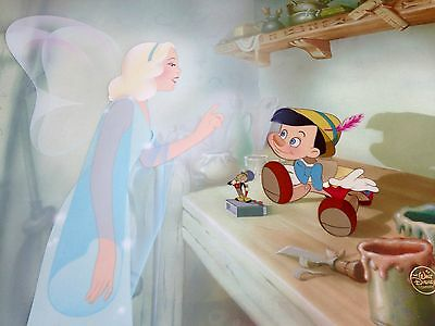 Disney cel Pinocchio and The Blue Fairy rare animation art Limited Edition cell