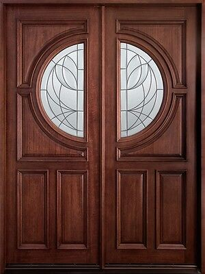 Solid Mahogany Wood Entry Door Double Prehung Dark Mahogany Finish 785 DD