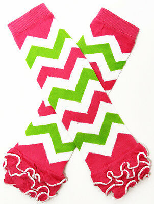 NEW! Hot Pink White Lime Green Chevron Cotton Legwarmers with Ruffles 0-6 Years