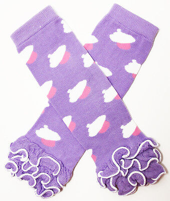 NEW! Lavender White Pink Cupcake Print Cotton Legwarmers with Ruffles 0-6 Years