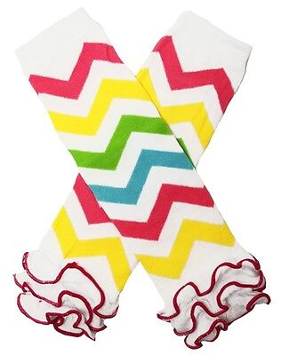 NEW! Pink Blue Green Yellow Rainbow Chevron Legwarmers with Ruffles 0-6 Years