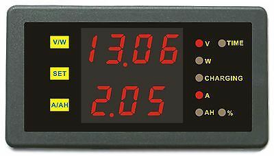 Dual Display Combo Meter 120V 300A Voltage Amp Power Ah Hour for Solar Boat Golf