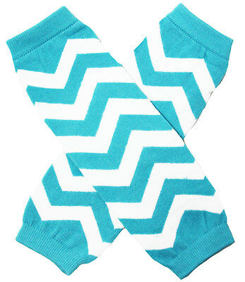 NEW! Aqua White Chevron Print Cotton Legwarmers 0-6 Years