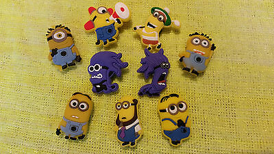 MINIONS!! MINIONS!! shoe charms/cake toppers! Lot of 9!! FAST USA SHIPPING!!