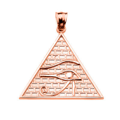 Solid Rose Gold The Eye of Horus Egyptian Pyramid Pendant