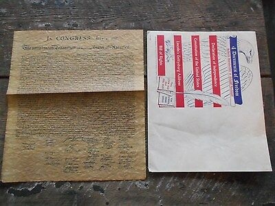 ** Vintage 1956 Declaration of Independence Parchment Paper Reproduction **