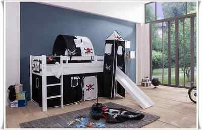 High Bed Kid's bed with tower and slide Solid Pine White Pirate