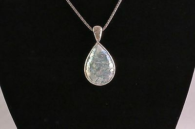"Genuine Ancient Roman Glass Medallion, Teardrop Shaped 2""x1"" in Size, Chain 18"""
