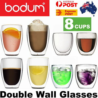 Bodum Pavina Double Wall Thermo Glasses Set of 8 (4x 350ml , 4x 250ml) - Express