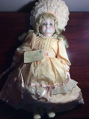 """1988 ~Musical collectible Doll""""Cecelia""""by BETTY JANE CARTER w/certificate"""
