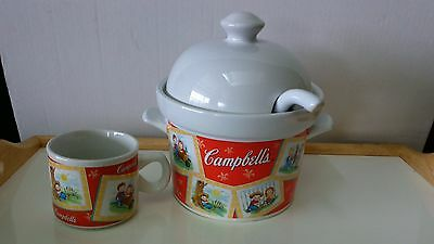 Collectible, signed, Campbell Soup Tureen with matching mug