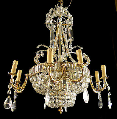 Antique French bronze and crystal chandelier crystal prisms, almond