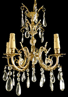 Antique French bronze glass chandelier Original carved crystal platelets almonds
