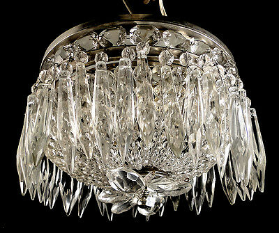 Antique French empire style bronze and crystal ceiling light *428