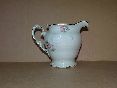 KPM Gold Trim Pink Blue Flower Floral China Creamer Poland