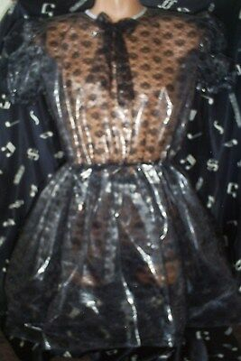 SISSY ADULT BABY MAID BLACK LACE  DRESS FULLY LINED IN NOISY PLASTIC 44""