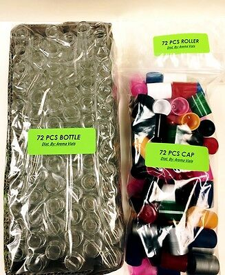 72 Bottles Plain 1/3 oz 10ml Clear Glass Roll on W/MIX COLOR Cap & Roller