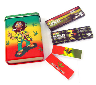 Rasta Bob Marley Theme Metal Tin Case Rolling Papers Filter Tips Roach Booklets