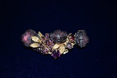 STUNNING EARLY VINTAGE SIGNED DEMARIO NY BROOCH/PIN RHINESTONE AMETHYST FLOWERS