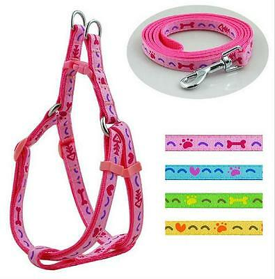 Nylon Dog Harness & Leash Lead Tough Strong Puppy X-Small Small Chi Pom Pug Pink