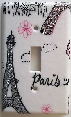 Paris Eiffel Tower Pink Glitter Light Switch Cover Outlet Girls Bedroom Decor