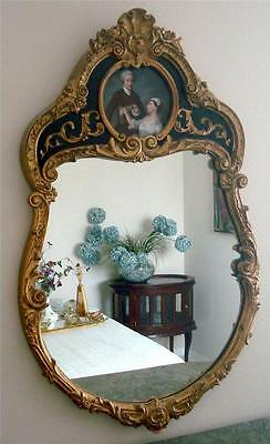 FRENCH GOLD GILT WOOD HAND PAINTED WALL MIRROR