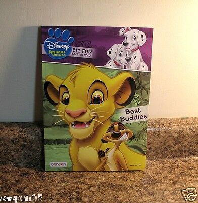 Disney Animal Friends Coloring Book BEST BUDDIES Dalmatians Lion King Bambi NEW