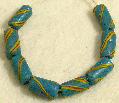 8 Small Old Venetian Swirled TURQUOISE BLUE Glass Tube African Trade Beads