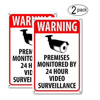 (2) Warning Security Cameras In Use ~ Home Video Surveillance Signs