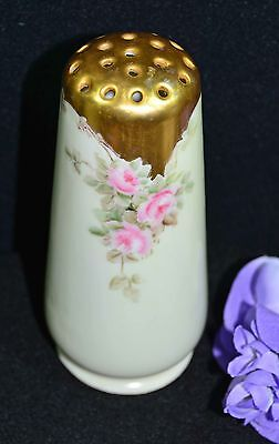 """VINTAGE! HAT PIN HOLDER Pink Roses & Gold Hand Painted 5 1/8"""" Tall by HC Royal"""