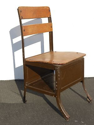 Vintage  Old School House Student  DESK CHAIR w/ Cubby Hole for BOOK STORAGE