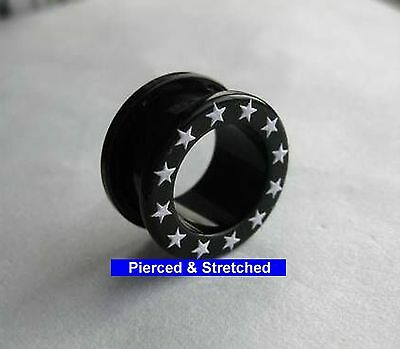 ONE 16mm Black TUNNEL with Stars and Screw Back Fit Back - Tunnels & Plugs