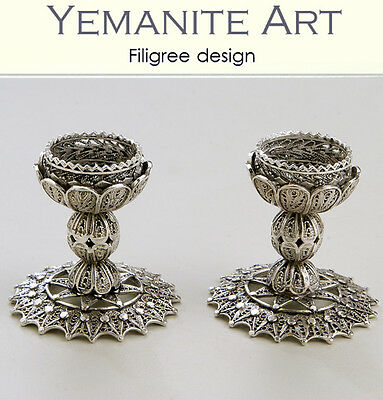 925 Handmade Sterling Silver Shabbat Candlesticks Filigree Artisan, Yemenite Art
