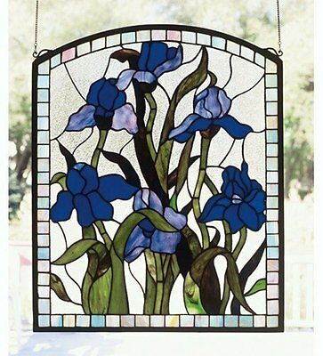 "Meyda Tiffany 20"" X 24"" Iris Floral Arched Floral Stained Glass Window 36074"