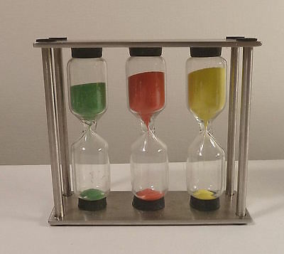 Glass & Metal TIMER Triple Green Red Yellow 3 + 4 + 5 Minutes