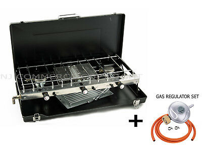 Foldable Gas stove 3 Burners Portable Camping Outdoor Cooker Grill Case FS-430