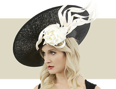 5504fd03ac421 Nwt Auth Philip Treacy Black   Ivory Skull Slice Buntal Rose Kentucky Derby  Hat