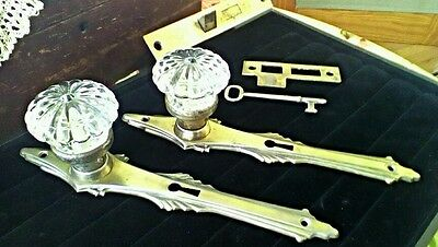 VINTAGE NOUVEAU BACKPLATE & RARE PETAL CRYSTAL GLASS KNOB SET/LOCK/STRIKE 1 of 3