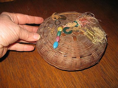 """VINTAGE 1940'S CHINESE SEWING BASKET WITH COINS & TASSELS SMALLER 6"""""""