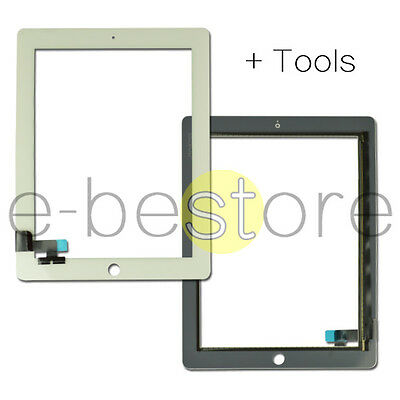 White For iPad 2 Replacement Touch Screen Digitizer Front Glass Display Tools UK