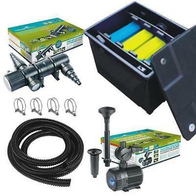 Small Pond Box Filter System / Pond Pump / UV Steriliser / Flexible Hose / Clips
