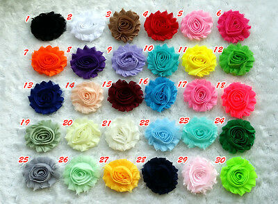 1 yard  Frayed Shabby Rose Chiffon Hair Flowers for Headbands,Trim Solid color