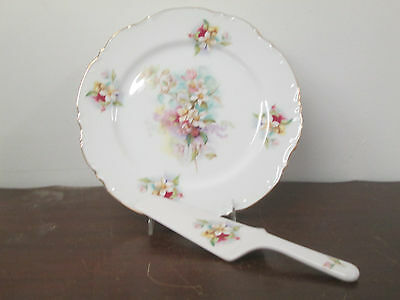 "Cake Plate in fine china 11""diameter with server made in Japan new by S. Mann"