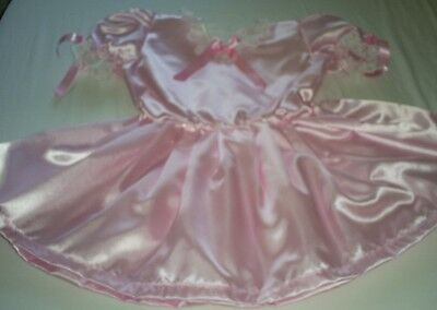 ADULT BABY SISSY MAID  PINK SATIN DRESS FULLY LINED IN VERY NOISY PLASTIC 38""