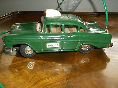 LineMar Police car Tin Toy Battery operated vntg 50s Marx Japan Remote control